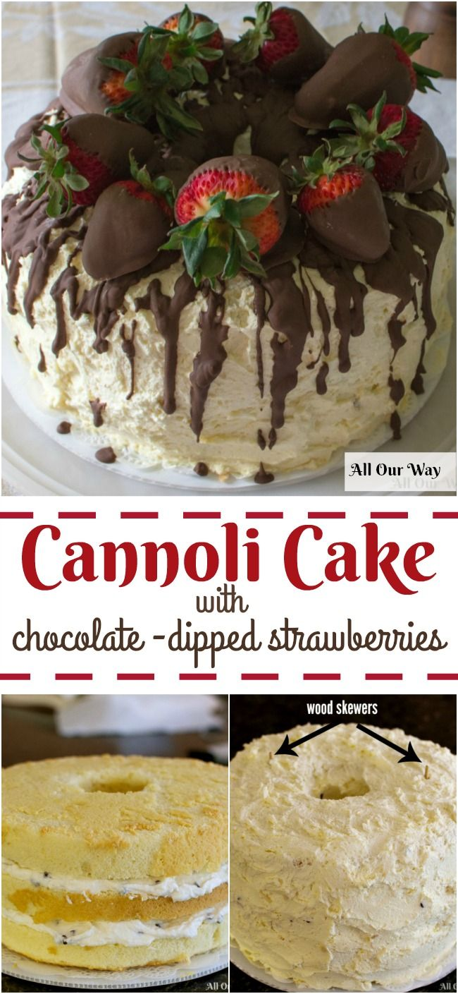 Cannoli Cake is inspired from its Sicilian namesake. Rich sweetened ricotta with chocolate chips fills the three layers and whipped cream frosts the dessert with chocolate dipped strawberries adorn the top.