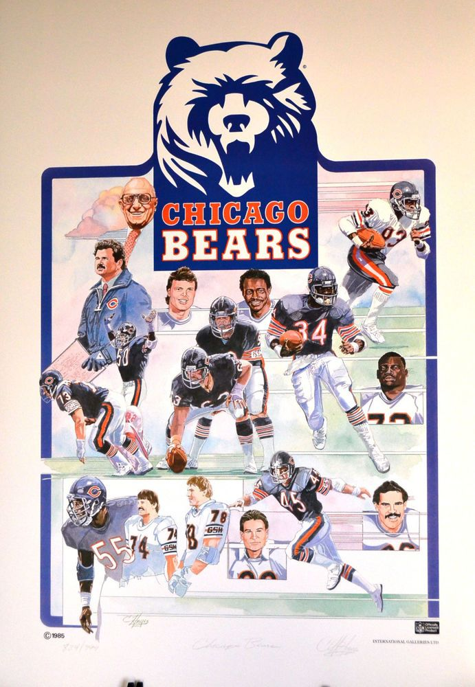 Chicago Bears 85 Superbowl team lithograph hand signed very rare ltd Ed