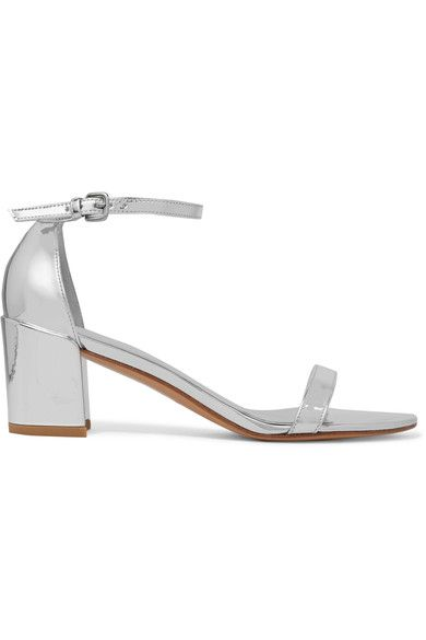 Stuart Weitzman - Metallic Leather Sandals - Silver - IT35.5