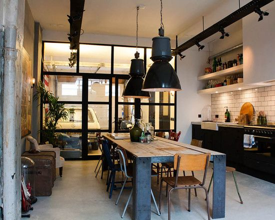 Simple And Spacious Industrial Kitchen Design With Black Pendants That  Stand Out Visually [Design: Bricks Amsterdam / Photo: Louise De Miranda]    Decoist