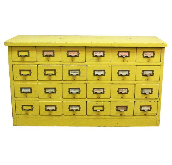 Placement: Behind sofa, as sofa table, if there's room between it and the horizontal bookcase/plant stand. Vintage Yellow Library Card Catalog -- Mid-Century Library Furniture