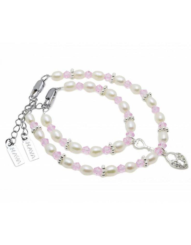 Mom & Me armbanden 'Infinity Pink' key to my heart