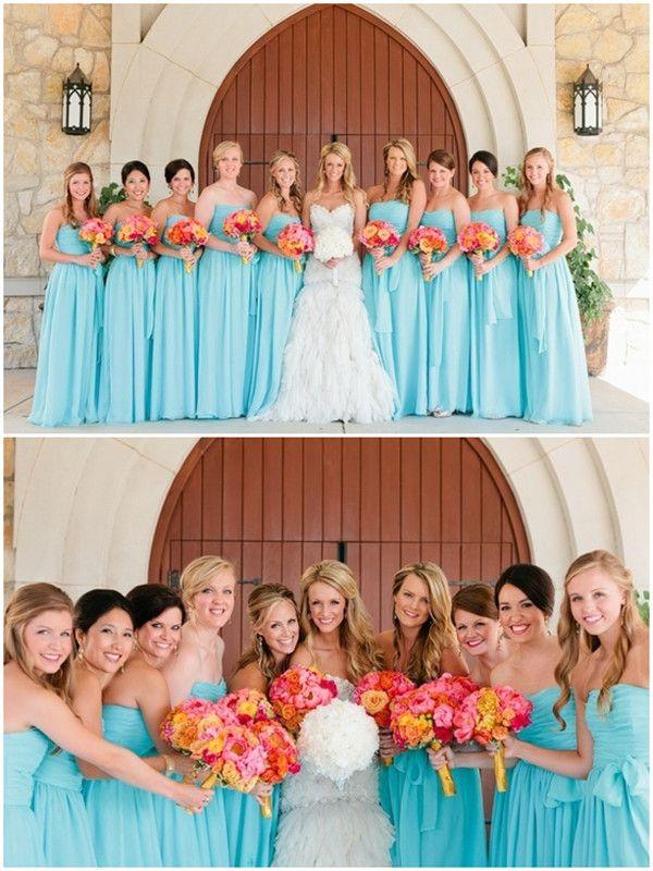 2014 Bezaubernde Orange Coral Blau Sommer Hochzeit Inspiration Brautkleider lang…