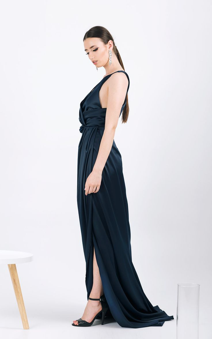Long evening gown      Draped top     <span...