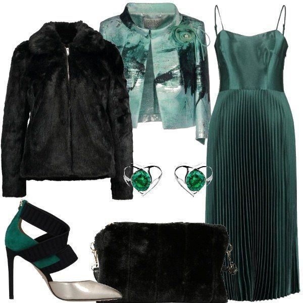 save off 32379 d68b9 Un' abito molto elegante, verde cangiante a bretelline ...