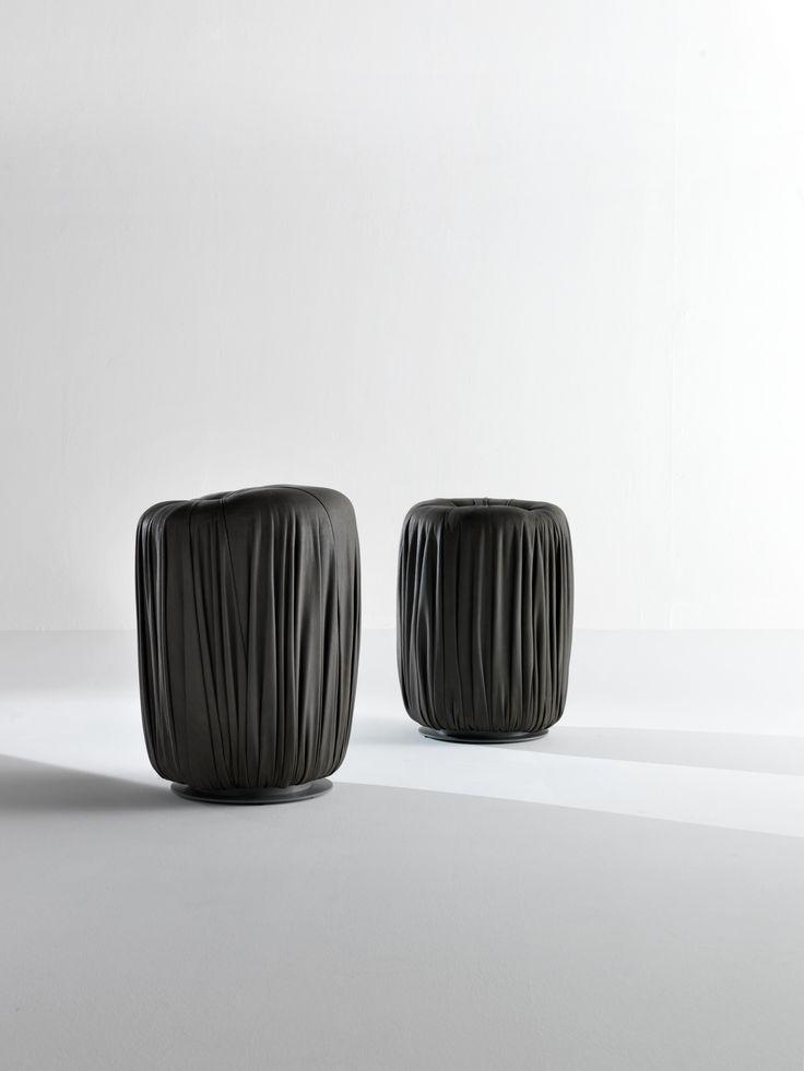 Round high Pouf - Drapé collection by Bartoli Design | Laurameroni