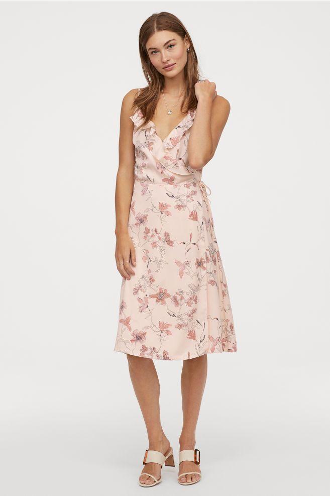 ac183307fdf3 Mønstret slå om-kjole - Pudderrosa Blomstret - DAME