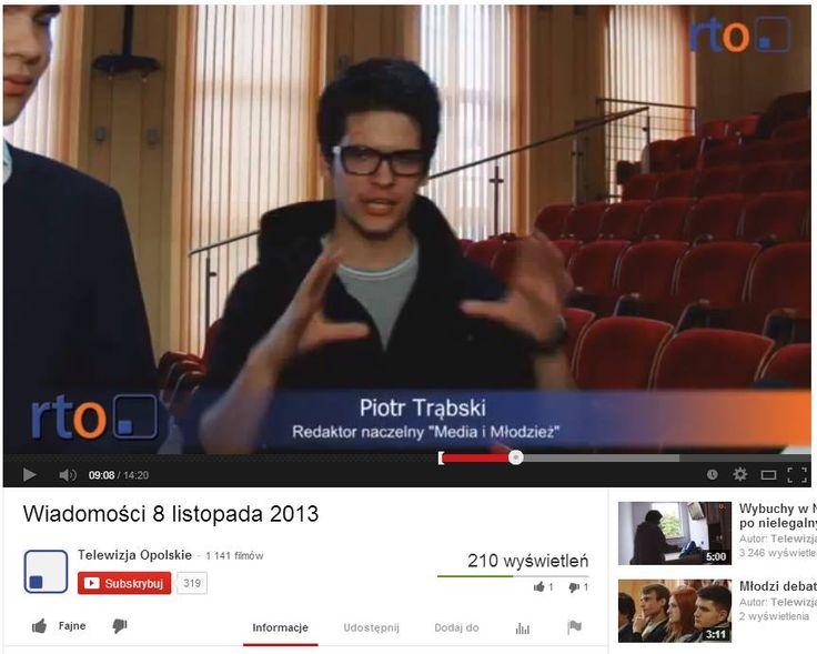 Wywiad dla telewizji Opole RTO na temat Konferencji Rad Młodzieżowych w 2013 roku.
