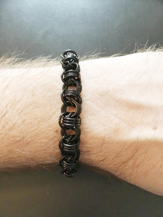 """1/3"""" Black Chainmail Bracelet - Nickel Free Metal - Orbital Weave - Barb Wire Look - Mens Womens Unisex Jewellry - Goth Emo Punk Bracelet by JohnsChainmailShop from John's Chainmail Shop. Find it now at http://ift.tt/2tkZvqo!"""