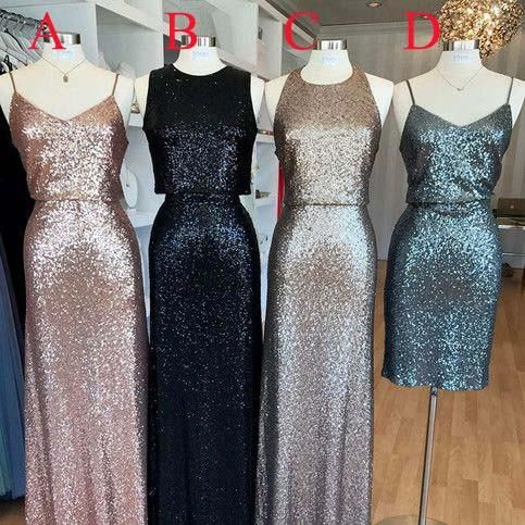 2017 Popular Mismatched Cheap Long/Short Sequin Bridesmaid Dresses, WG418