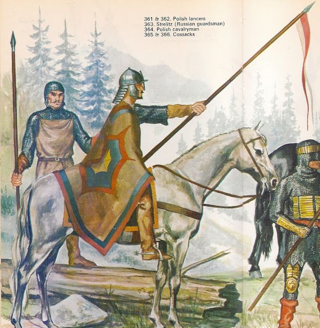 Knights - Polish lancers, Strelitz (Russian guardsman), Polish cavalryman - Items held are larger and not to scale for details.