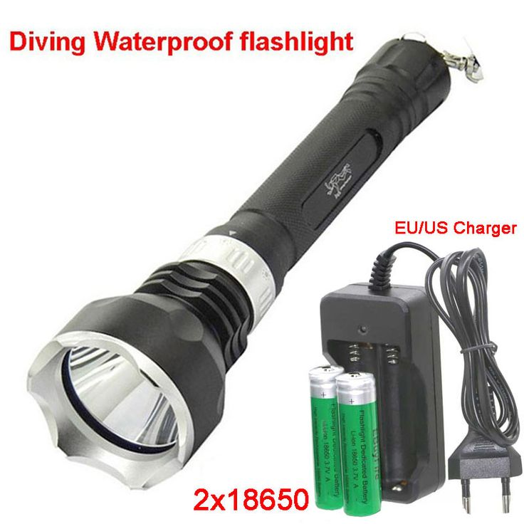 led Diving 18650 flashlight Underwater torch XM-L T6 2000LM LED Diving light Waterproof Lamp + 2x 18650 battery+charger