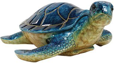 """10"""""""" Hawaiian Sea Turtle Lidded Keepsake Box Blue"""