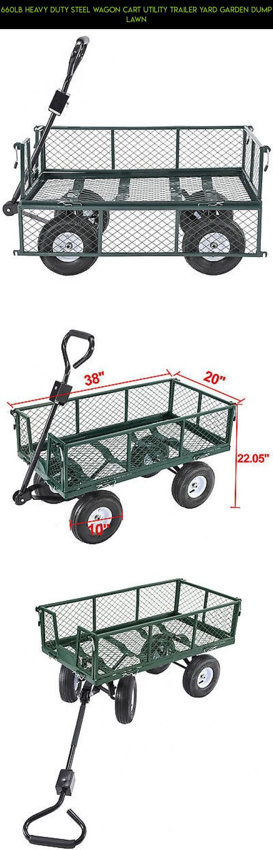 660LB Heavy Duty Steel Wagon Cart Utility Trailer Yard Garden Dump Lawn #parts #gardening #plans #drone #kit #shopping #technology #products #camera #cart #tech #gadgets #fpv #racing