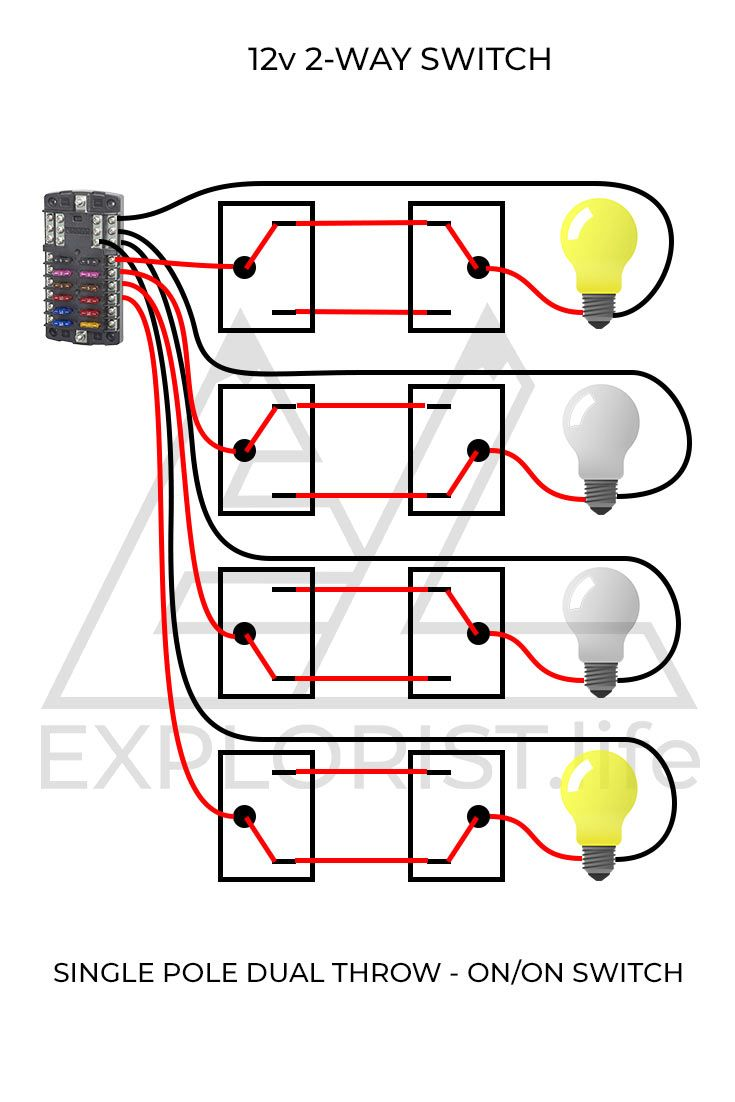 these wiring diagrams will show you how to wire 12v lights & switches into  your campervan  2-way switches too!