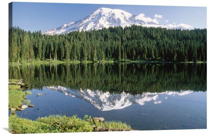 Mt Rainier Reflected in Lake, Mt Rainier National Park, Washington