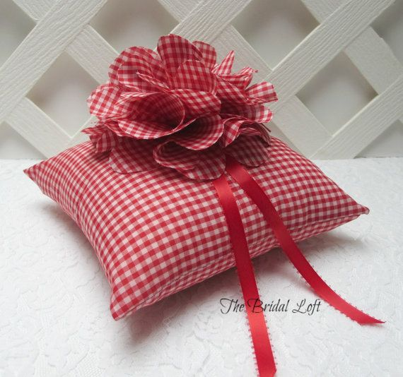 Red Gingham Wedding Ring Pillow, Red Ring Bearer Pillow, Picnic Wedding, Matching Items Available, Handmade by Bridal Loft, #etsy custom, #etsy