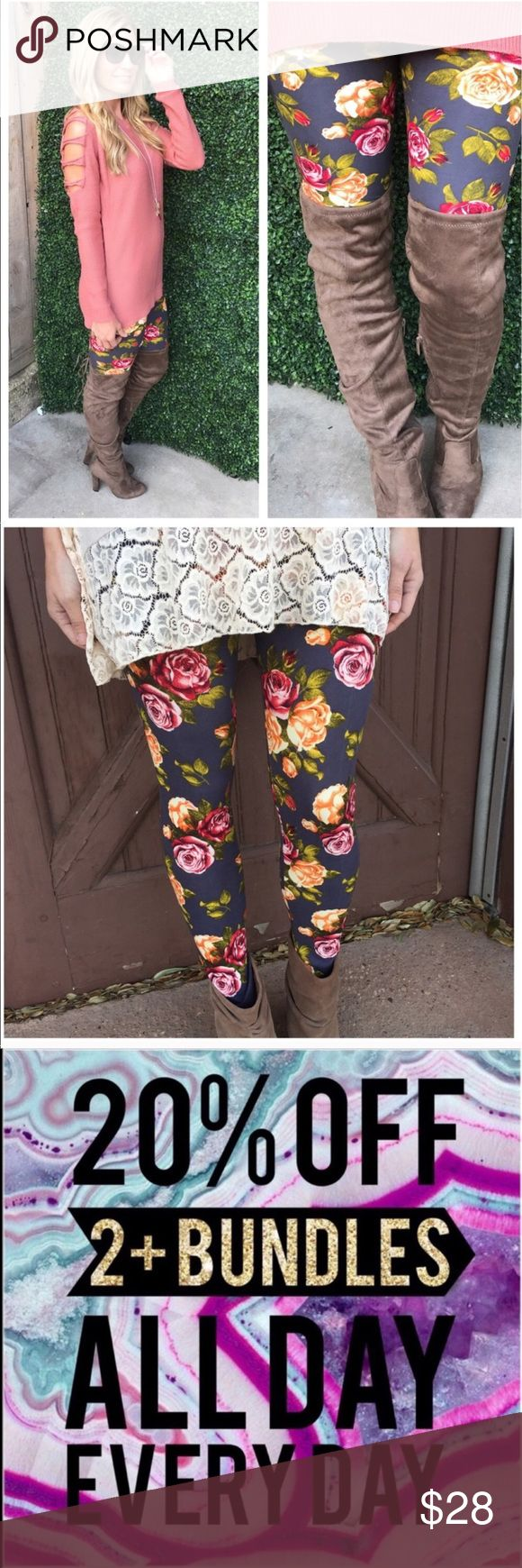 Charcoal Floral Print Buttery Soft Leggings 92% Polyester • 8% Spandex • one size fits {2-12} • buttery soft leggings• handwash• good quality   • Offers Welcome • Bundle Discounts  • Suggested User • Fast Shipper Infinity Raine Pants Leggings