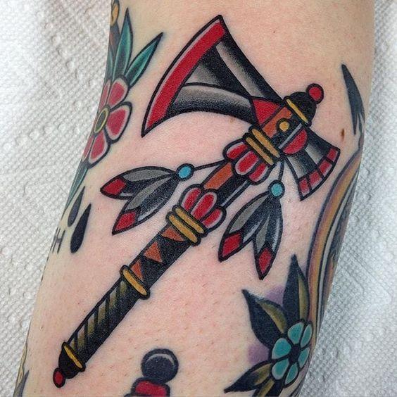 Traditional Tomahawk Tattoo by Kris Maron #tomahawk #tomahawktattoo…