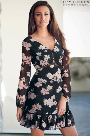 Buy Lipsy Love Michelle Keegan Floral Print Bow Back Dress online today at Next…