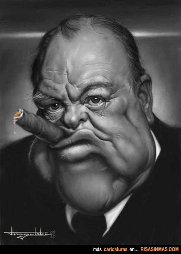 Caricatura de Winston Churchill.