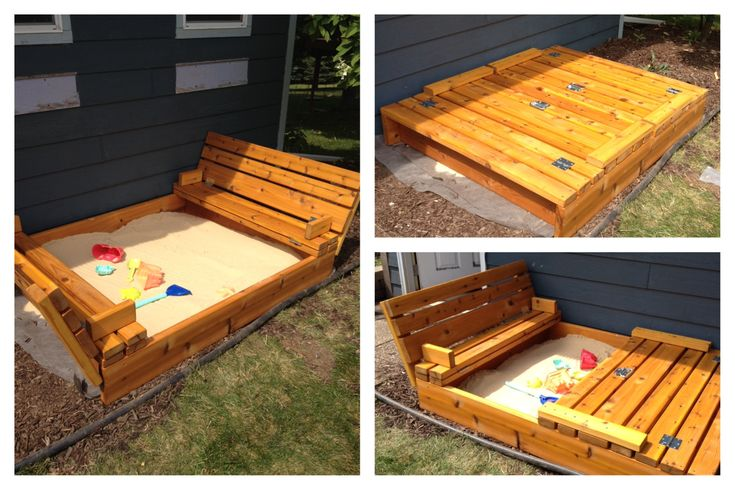 The original plan was from ana-white.com, however, we went 5' x 4' and used 2x8's for the sides and, 2'4's and a 2'6 on the backrests to make up for the addiitonal width. http://ana-white.com/2011/10/plans/sand-box-built-seats This blog's instructions were our basis for our modifications: http://www.statelykitsch.com/diy-sandbox-with-lid-benches/