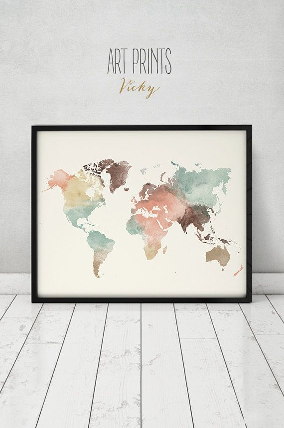 World map art, world map poster, world map poster, print, watercolor map, world map pastel, office decor, personalized map, ArtPrintsVicky