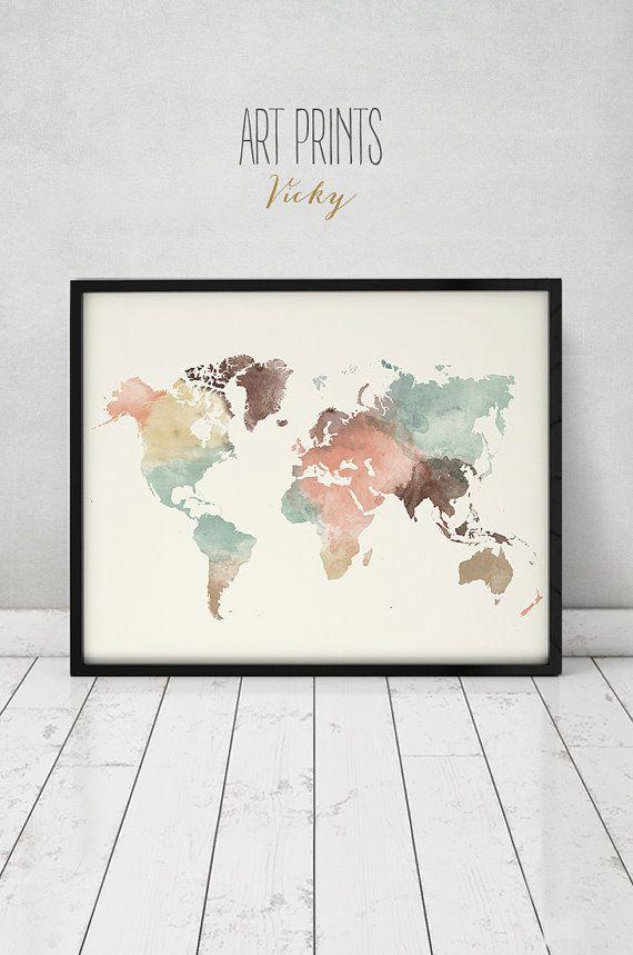 World map art, World map poster, print, watercolor map, Large world map, world map pastel, office decor, personalized map, ArtPrintsVicky