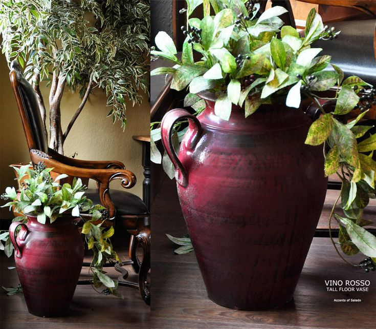 Vino Rosso Tall Floor Vase from Italy.. Accents of Salado