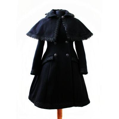 Płaszcz zimowy z kapturem gothic lolita