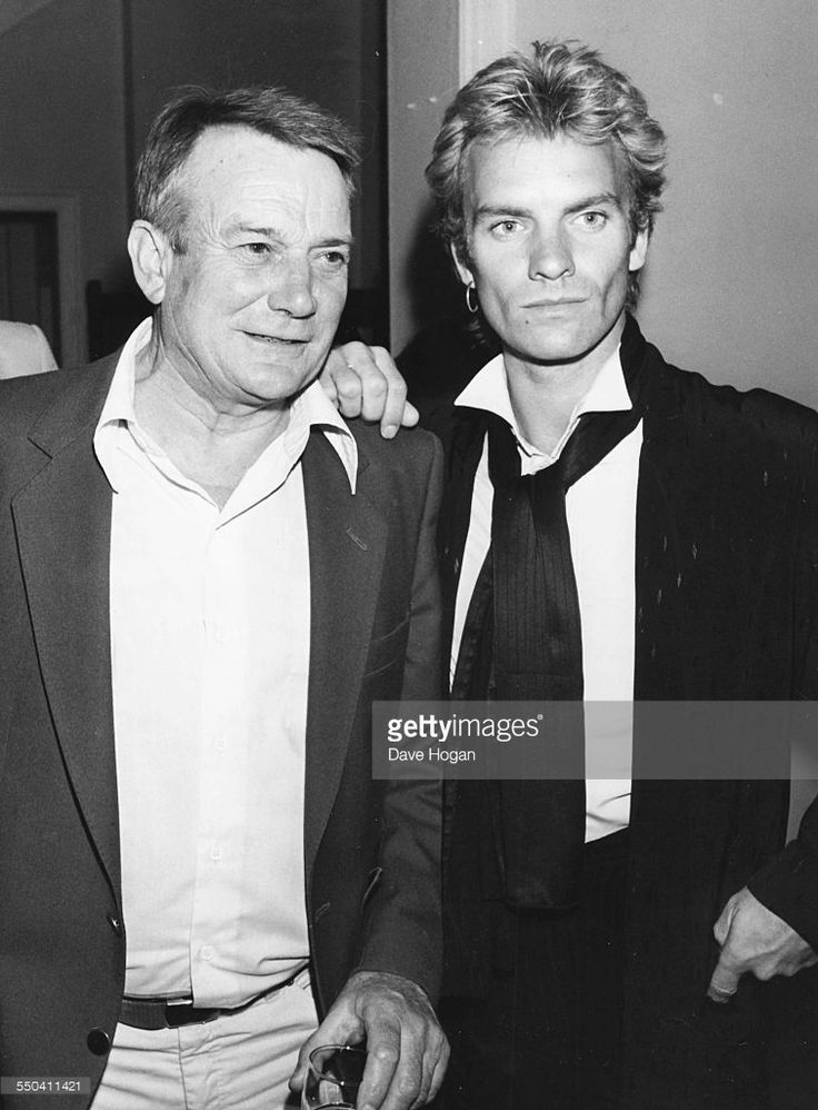 Musician Sting (right) and actor Denholm Elliott at the after party of the premiere of the film 'Brimstone and Treacle', London, September 13th 1982. (Photo by Dave Hogan/Getty Images)