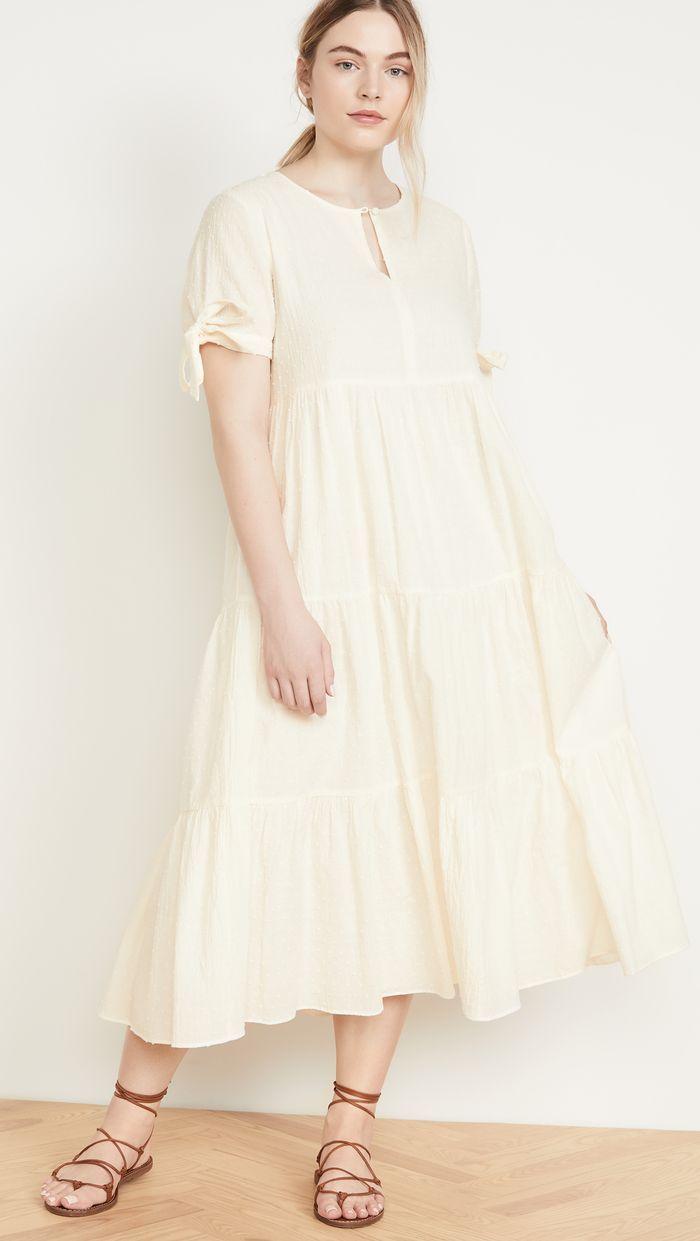 Madewell Tie Sleeve Tiered Midi Dress In Swiss Dot Tiered Midi Dress Midi Dress Dresses [ 1241 x 700 Pixel ]