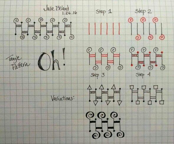 New tangle pattern, Oh! Julie Beland. Zentangle.