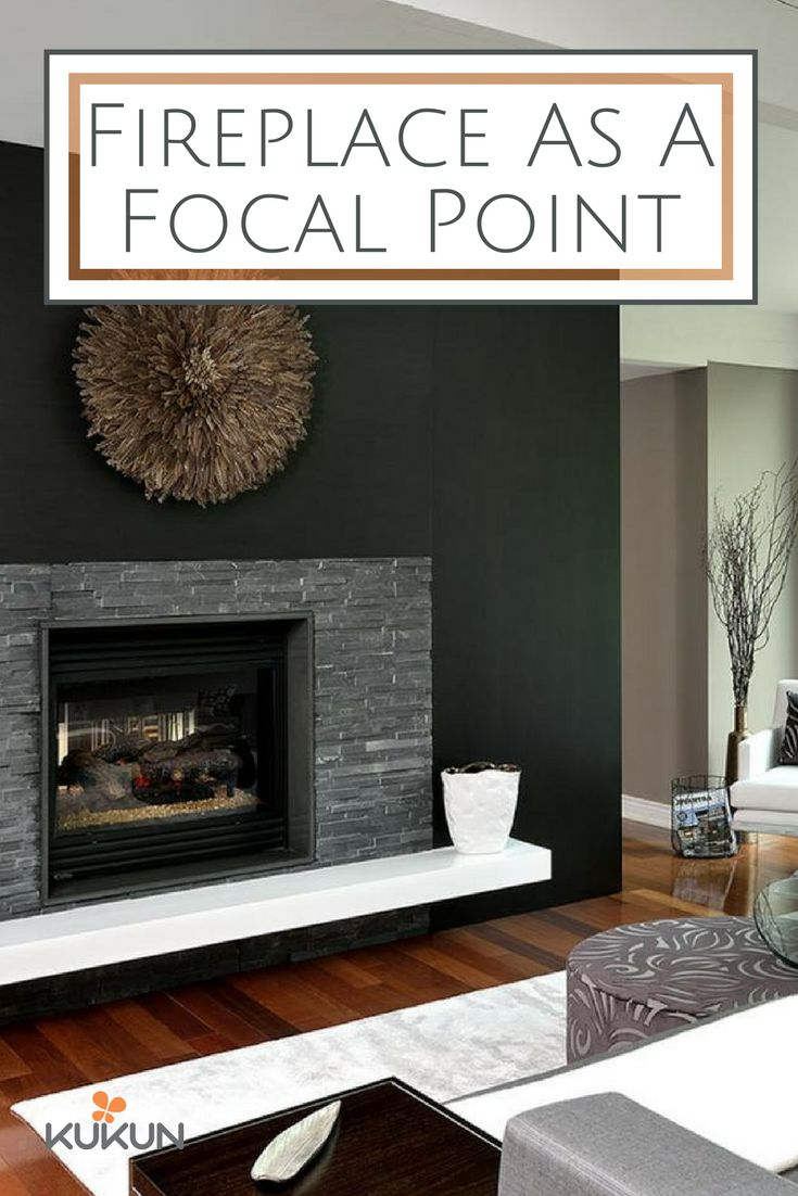 opt for a dramatic touch for your living room with dark stone veneer and a black - Feldsteinkamin Im Freien