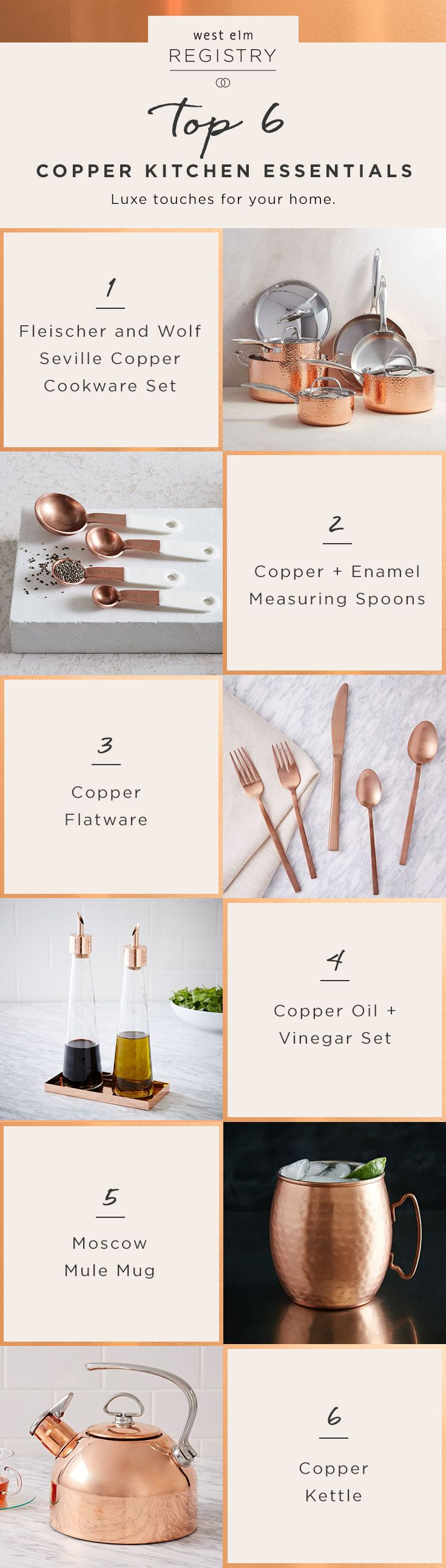 Tying the knot? These copper kitchen essentials are wedding registry must-haves! Head over to westelm.com to get your registry started.