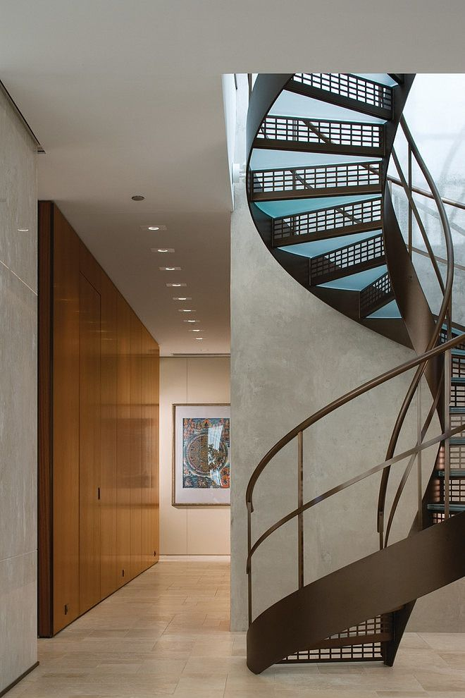 Penthouse spiral staircase in Chicago | Gold Coast Penthouse by Gary Lee Partners