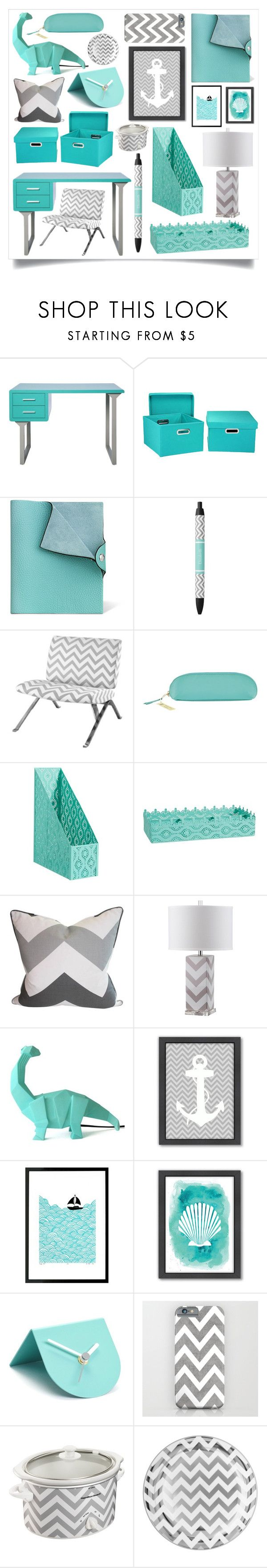 """""""Home Office (Turquoise & Chevron)"""" by iris913 ❤ liked on Polyvore featuring interior, interiors, interior design, home, home decor, interior decorating, I Love Living, Household Essentials, DK and Monarch"""