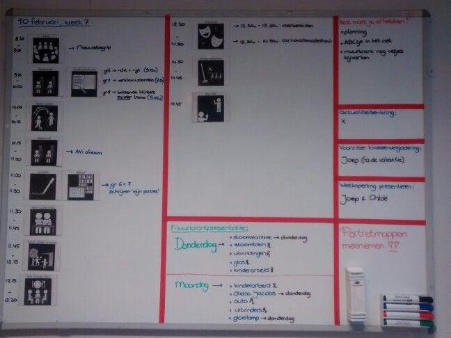 Ook in een bovenbouw is het fijn om met een duidelijke dagplanning te werken voor de kinderen. Daarbij heb ik rode tape gebruikt om vakken te maken op het whitebord. Werkt perfect!