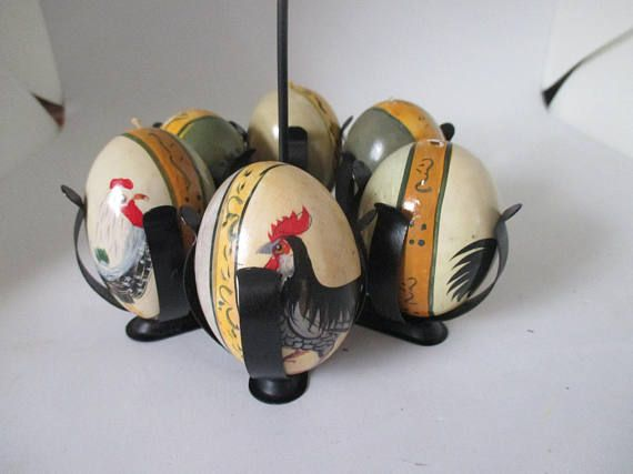 Vintage German Set of Hand painted chickens and roosters on