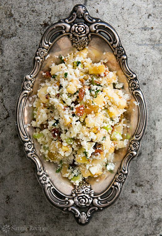 """Cauliflower """"Couscous"""" ~ Gluten-free, vegan, mock couscous made with steamed ground cauliflower, apples, nuts, and other mix-ins. ~ SimplyRecipes.com"""