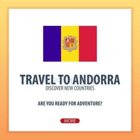 Viajar a Andorra. Descubrir y explorar nuevos países. Viaje de aventura Vector De Stock