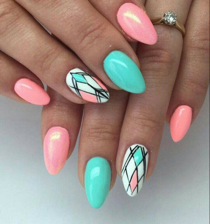 coral nail design ideas