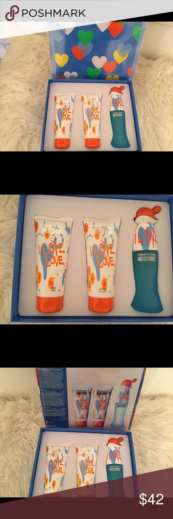 Moschino I love, love Cheap and Chic set NIB Launched by the design house of Moschino, this CHEAP AND CHIC I love love 3 piece gift set includes Eau de Toilette Spray, Perfumed Body Lotion, and Perfumed Bath & Shower Gel  This Gift Set Contains:  (1) 1 x 1.7 oz / 50 ml EDT Eau de Toilette Natural Spray / Vaporisateur (2) 1 x 3.4 oz / 100 ml Perfumed Bath & Shower Gel (3) 1 x 3.4 oz / 100 ml Perfumed Body Lotion / Lait Perfume Pour le Corps Moschino Other