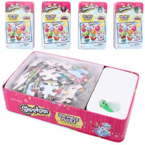Shopkins 100-Piece Puzzle In Tin with Figure - 24 Units