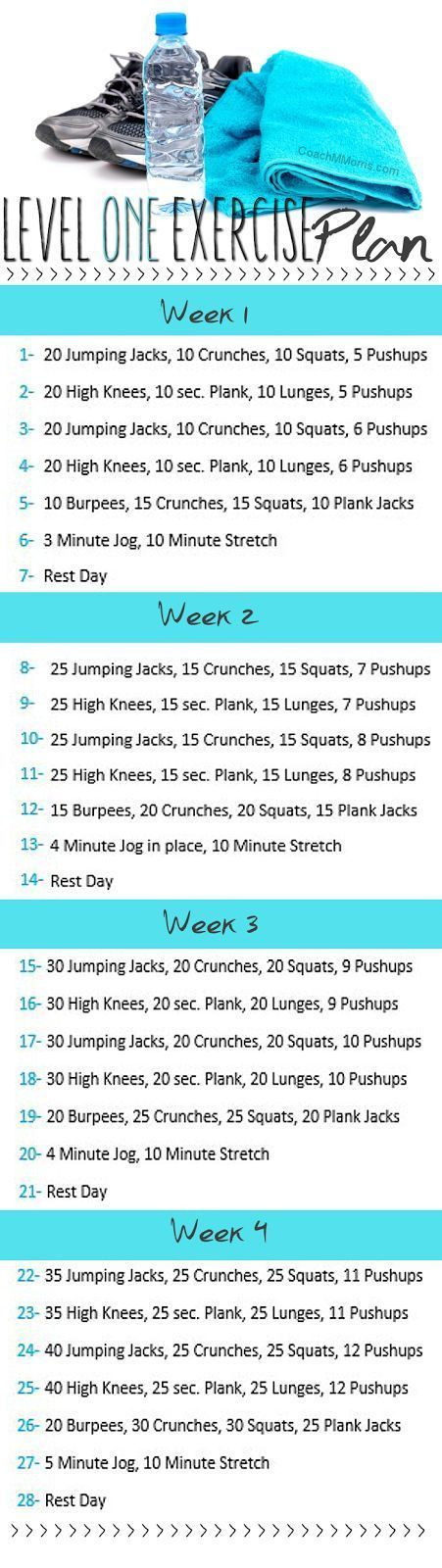 Level one exercise plan, snag a PDF download of this routine on my blog.