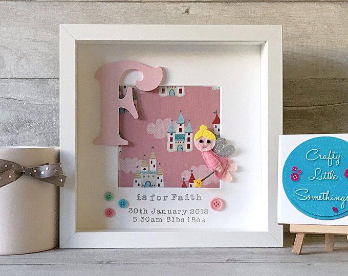 Personalised Box Frame Baby Gift Girls Gift For Room New Baby Christening Gift