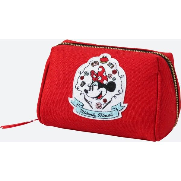 UNIQLO Women's Disney (minnie Mouse Loves Dots) Pouch ($9.90) ❤ liked on Polyvore featuring bags, handbags, clutches, red, polka dot purse, red clutches, embroidered handbags, red purse and man pouch bag