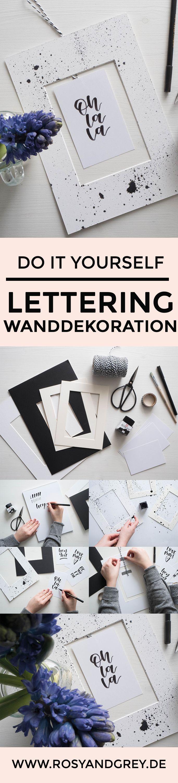 DIY Handlettering Wanddeko und Passepartout Upcycling