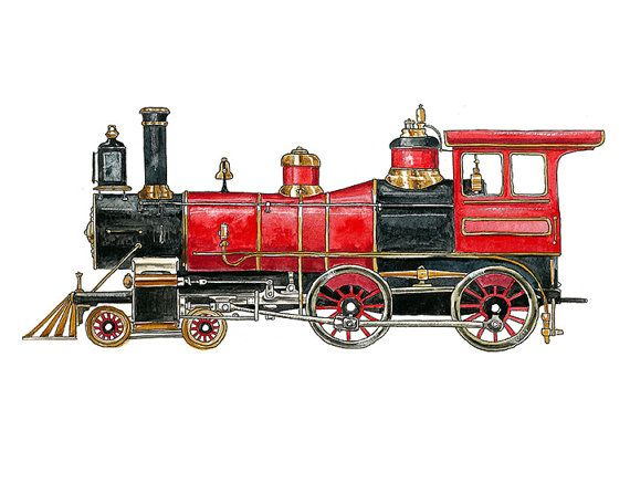 Red Steam Engine Locomotive watercolor print by FlightsByNumber