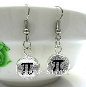 HE82  PI  Earrings Math Jewelry Teachers, Science, Mathematics Symble Black and White Art Charm